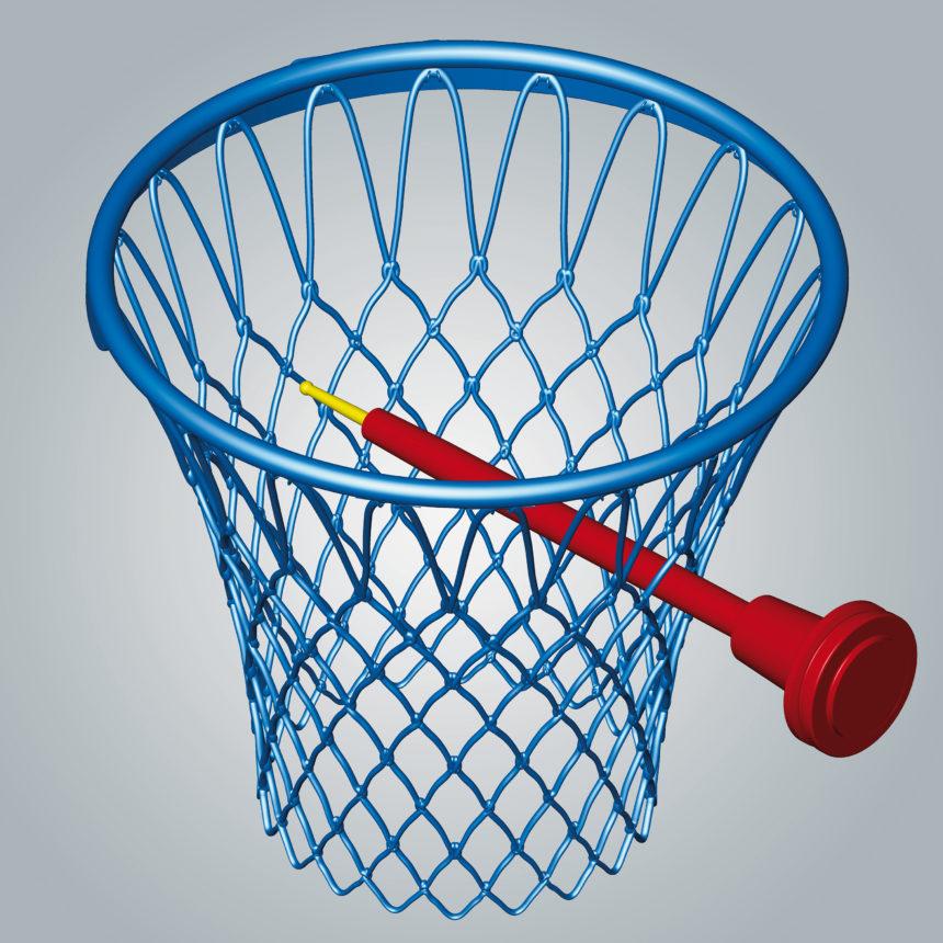 Cesta de baloncesto fresada con tecnología de 5 ejes