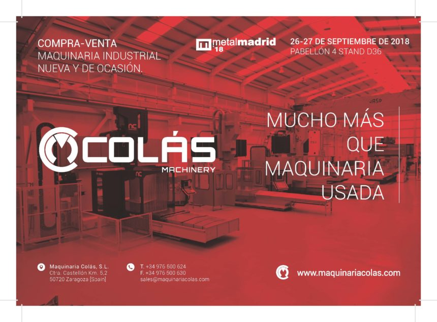 Maquinaria Colás asistirá como expositor a Metalmadrid