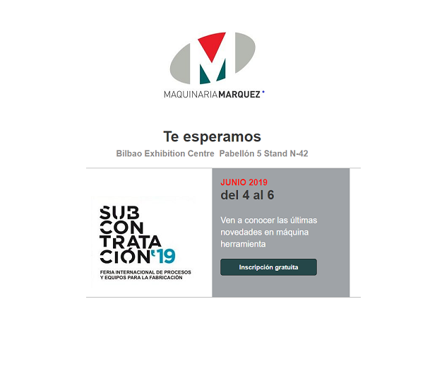 MAQUINARIA MÁRQUEZ participará en la feria Subcontratación 2019 en Bilbao