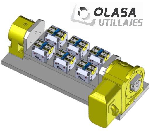 Caso práctico: divisor y soporte luneta con freno NIKKEN con cilindro incorporado SMW Autoblok para carga y descarga con robot