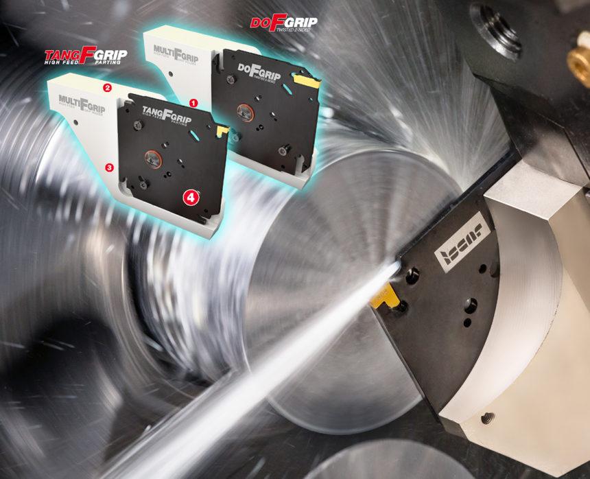 Revolucionario Sistema de Tronzado ISCAR para una Mayor Productividad, con un Adaptador Económico Cuadrado de 4 Asientos y un Exclusivo Bloque Soporte Reforzado