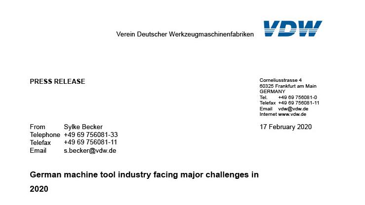 La industria alemana de máquinas herramienta enfrenta grandes desafíos en 2020