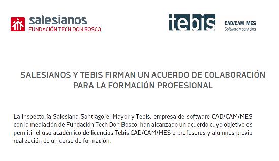 SALESIANOS y TEBIS firman un acuerdo de colaboración para la formación profesional