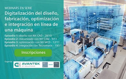 Avantek organiza una serie de webinars sobre digitalización del diseño, fabricación, optimización e integración en línea de una máquina