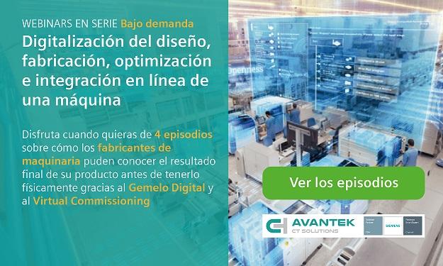 Avantek Soluciones PLM ofrece a los fabricantes de maquinaria su serie de webinars bajo demanda sobre Gemelo Digital y Virtual Commissioning